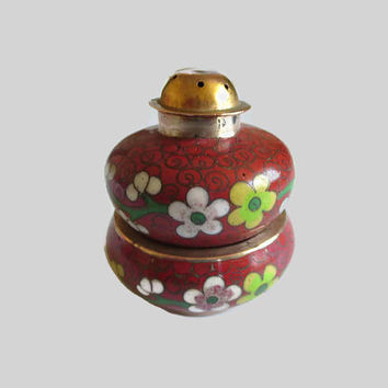 Cloisonne Salt Cellar Pepper Shaker Set, Vintage Deep Red, White, Green Enamel & Copper, Chinese Export, Fun!
