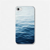 Ocean Blue iPhone 4 Case iPhone 4 Cover Beach Sea iPhone Case Water Sapphire Blue Ombre, Waves, Lake, Ocean, Cellphone Case.
