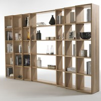 OPEN DOUBLE-SIDED WOODEN BOOKCASE TRIBECA | RIVA 1920