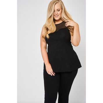 Black Top with Sweetheart Neckline and Mesh Yoke