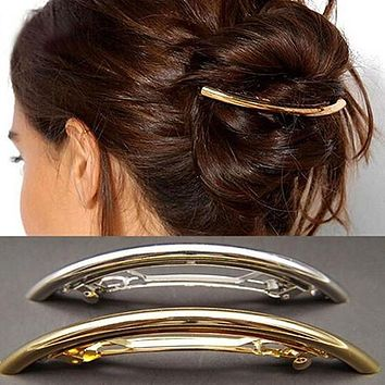 Women's Metal Golden Tone Silver Plated Tube Shape Barrette Hair Clips Hairgrip