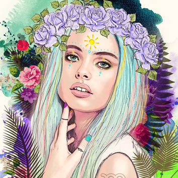 Virgo Art Print by Sara Eshak