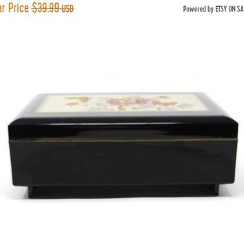 Vintage Black Lacquer Souvenir Jewelry Box with Working Music Box, Peacock Yoshinobu Hara