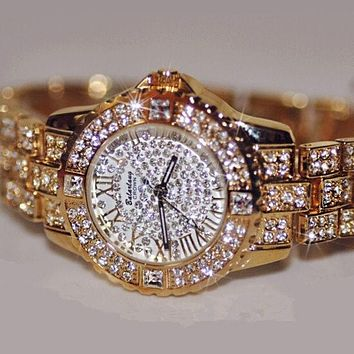 Austrian Fashion Diamond Men Women Rhinestone Watches Rose Gold Lady Quartz Watch Couple Watch I