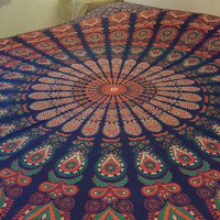 Indian Mandala Hippie  Bohemian Wall Hanging Tapestry Throw Double Bedspread 90 x 100""