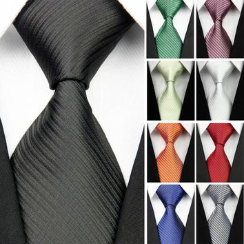 "Man 100% Silk Ties for Mens Accessories Black Blue White Red Solid Striped Jacquard Business Wedding Necktie Gravatas 3""/7.5cm"