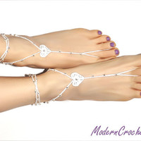 PRECIOUS HEART Barefoot Sandals,Valentine's Day gift, wedding accessory, yoga, anklet, beach and pool party
