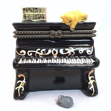 Cat and Mouse on Black Piano Miniature Porcelain Trinket Box 2.8H