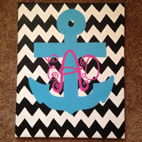 Monogram Anchor with Chevron Background Canvas Painting