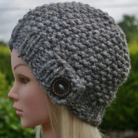 Hand Knit hat- Women's hat- Slate tweed with dark brown wooden button- beanie- winter hat- Rustic Mega Chunky with wool