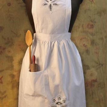 Battenburg Lace White Apron