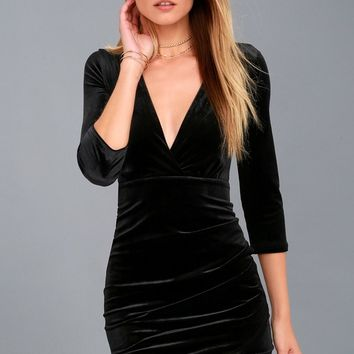Anything For You Black Velvet Bodycon Dress