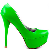 Veda Soul's Green Ellen - Neon Green for 59.99 direct from heels.com