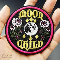 Moon Child Size:7.8x7.8cm Iron On Patches Badges Embroidered Applique Sewing Patch Clothes Stickers Garment Apparel Accessories