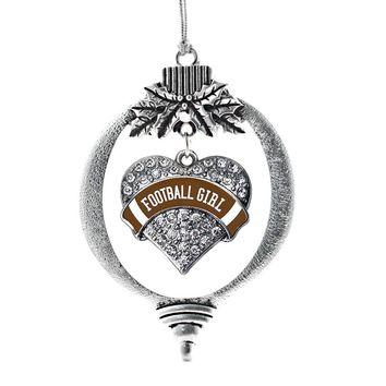 Football Girl Brown Pave Heart Charm Holiday Ornament