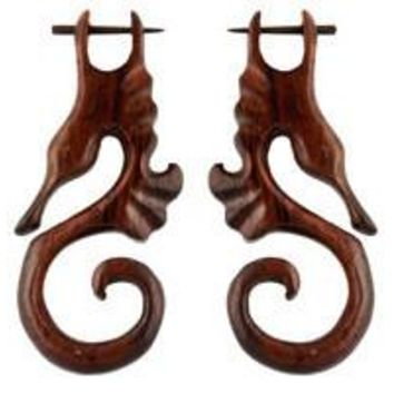 Wooden Earrings Tribal Style Post Earrings Brown Seahorses with Extra Sticks