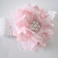 Wrist Corsage Pink Satin White Lace Pearl Cuff or Three Strand Bracelet Baby Shower Prom Wedding with Pearl Rhinestone Accents.