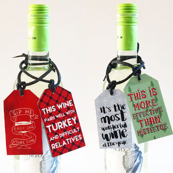Reusable Funny Wine or Gift tags. Watercolor, Graphic, Leather, Wood
