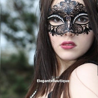 Enigamatic Black Venetian Crown Metal Laser Cut Masquerade Mask w/ High Quality Rhinestones