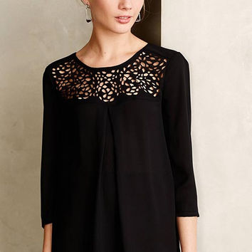 Black Crew Neck Chiffon Blouse