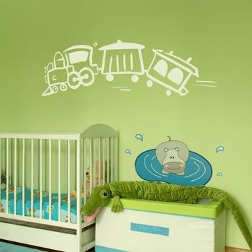 Wall Vinyl Decal Sticker Bedroom Decal Nursery Kids Baby Cartoon Train  z660