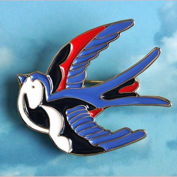 Cute Blue Bird Enamel Swallow Brooches Hijab Pins Up Metal Corsage Designer Wedding Shoulder Scarf Dresses Clips For Women Girls