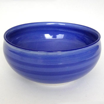 Blue porcelain bowl, blue ceramic bowl, blue serving bowl, large blue bowl, blue pottery bowl, handmade