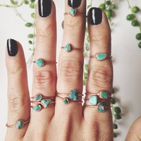 Genuine Natural Turquoise Midi/Stacking Ring