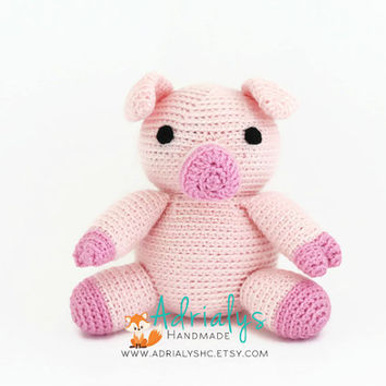 Crochet Pig- Stuffed Pig- Pig Plush- Farm Animals- Barn Animals- Handmade Pig- Crochet Toy-Amigurumi- Stuffed Animals- Made to Order