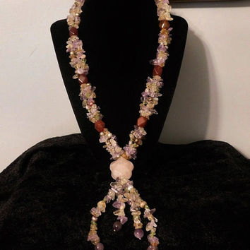 Statement Necklace Rose Quartz Medallion Carnelian Agate Keshi Pearls Peridot Amethyst Citrine Smoky Crystal Quartz Boho Chic Gypsy Bohemian