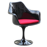 Black Flower Arm Chair with Red Cushion
