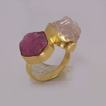 Handmade Ring - Real Ruby Ring - Gold Vermeil Ring - Rose Quartz Ring - Double Stone Ring - Bezel Set Ring - Birthstone Ring - Gift For Her