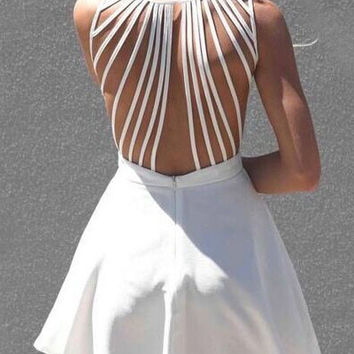 White Strappy Back Sleeveless Skater Dress
