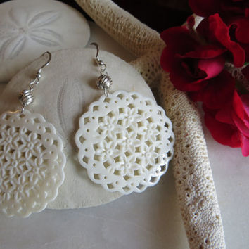 Carved bone earrings, Filigree earrings, Ivory earrings, Sterling silver earrings, dangle earrings