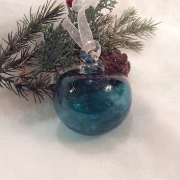 Teal Hand Blown Glass Christmas Ornament