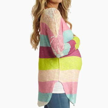 Pink Multi-Color Striped Knit Maternity Top
