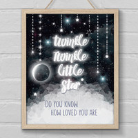 Twinkle Twinkle Little Star Nursery Wall Art, Outer Space Decor, Star Poster, Do You Know Printable Quote, Gift for Birthday Party, New Baby