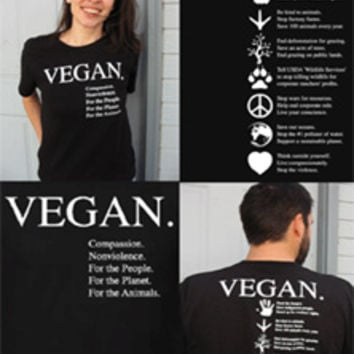 Vegan Compassion Organic Cotton T-Shirt by NonviolenceUnited.org - Black – VeganEssentials Online Store
