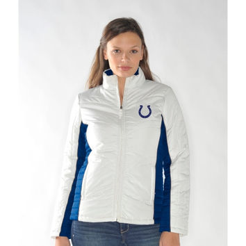 Indianapolis Colts Ladies Touchdown Full Zip Jacket - White/Royal Blue