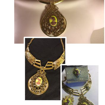 Yellow and Gold Vintage Cameo necklace/Free Shipping