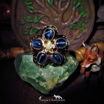 """Vintage 6 Ray Ceylon Star Sapphire Cluster Ring with Topaz & Rhodolite Garnet Accents -""""Nimue Lady of the Lake"""" - Water Magic, Love, Passion"""