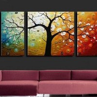 3 Piece Canvas Art Modern Art 100% Hand Painted Oil Painting on Canvas Wall Art Deco Home Decoration (Stretched and Framed Art)