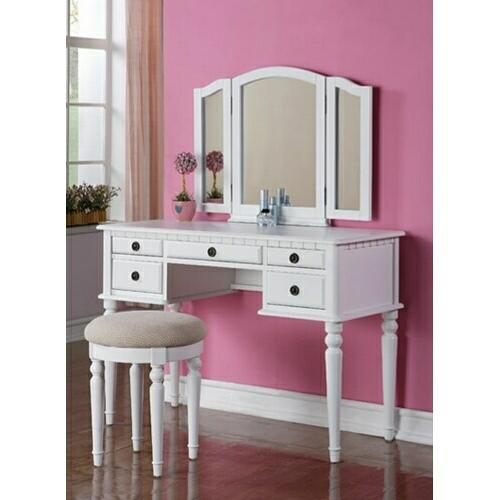3 Pc White Finish Wood Make Up Bedroom From Amb Furniture And