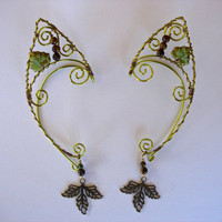 Peridot Colored Elf Ear Cuffs with brass and Czech Glass leaves, Moss Agate, Tiger Eye, Renaissance, Elven, Hobbit, Elf, Fantasy Ear Wraps