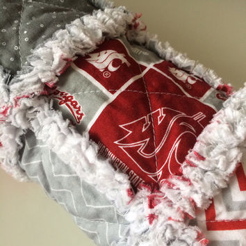 WSU Cougars Baby Quilt, Crimson Red Quilt, Flannel Baby Blanket, Baby Rag Quilt, Washington State University