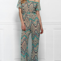 Vintage Printed Short Sleeve Backless Jumpsuit