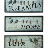 Benzara Wood Inspirational Photo Clips Wall Plaque