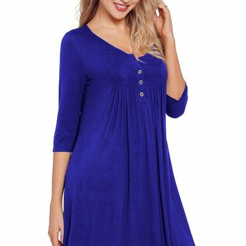 Royal Blue Quarter Sleeve Casual Tunic Dress