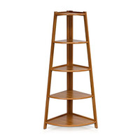 Furinno FNAJ-11112EX 5-Tier Corner Ladder Garden Shelf, Cherry