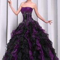 MerMaid Women's Ball Gown Party Evening Dress Multicolor(Purple&Black) Size 4
